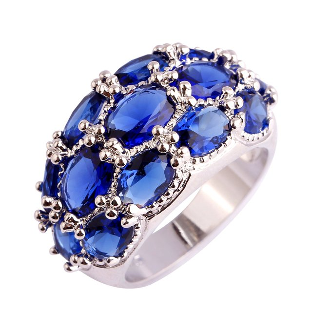 Lingmei Oval cut Blue  Handmade Wholesale Size 7 8 9 10 11 12 13 Silver plated Ring Jewelry wholesale