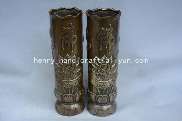 Rare Old  MingDynasty copper vase,Lotus,with carving& mark,A Pair ,best collection& adornment,Free shipping