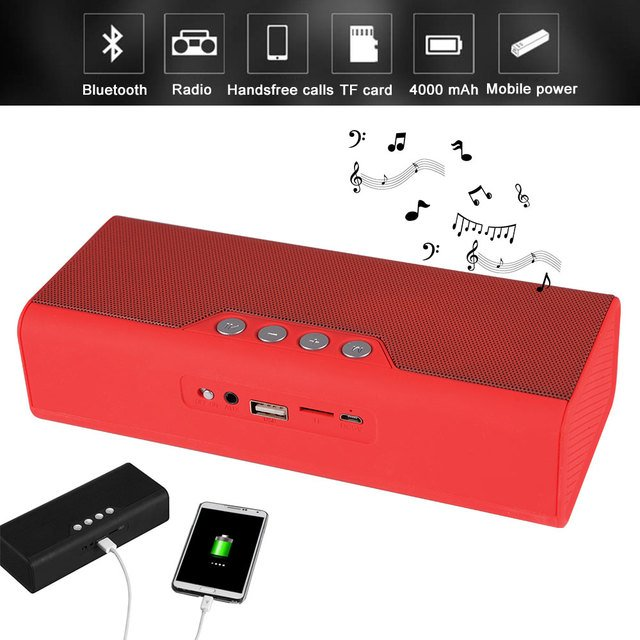 Portable Bluetooth Speaker Radio Speakers Wireless Speaker Portable Audio MP3 Player With Power Bank 4000mAh For Phone PC lordz