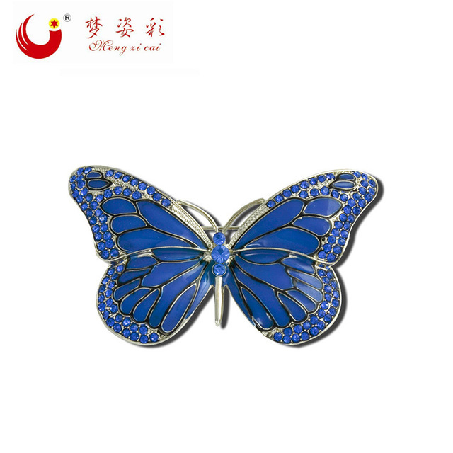 2019 High Quality Crystal Insect Blue Butterfly Pin brooch for women Rhinestone Broches for wedding  Mujer Pins X0838