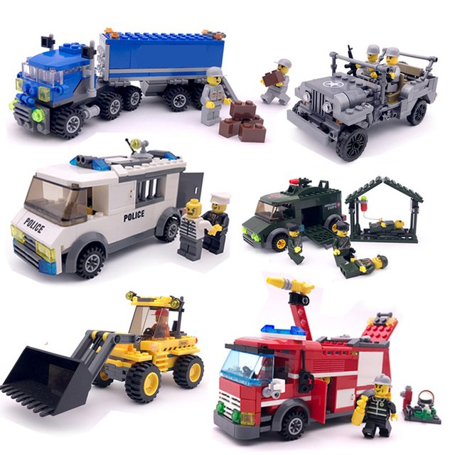 Truck Engineering Fire Truck Diy 3d Puzzle Assembly Vehicle Toy Children Puzzle Car Plastic Interactive Building Blocks Gifts