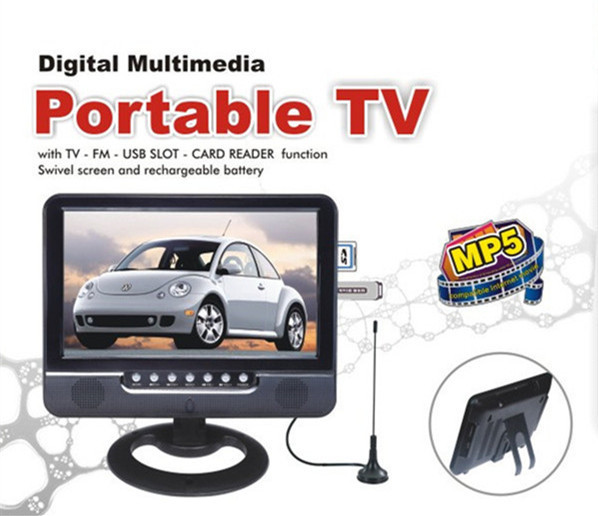 7 inch Digital Multimedia Portable TV With TV Black Color Wide View Angle
