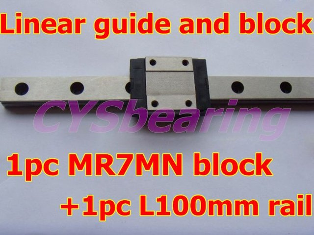 1pc MR7MN block +1pc L100mm rail,linear guide rail and slide block,linear guideway for CNC XYZ router