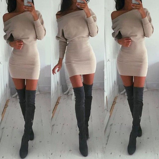Fashion Womens Sexy Off Shoulder Long Sleeve Cocktail Party Bodycon Casual Short Mini Cotton Dress
