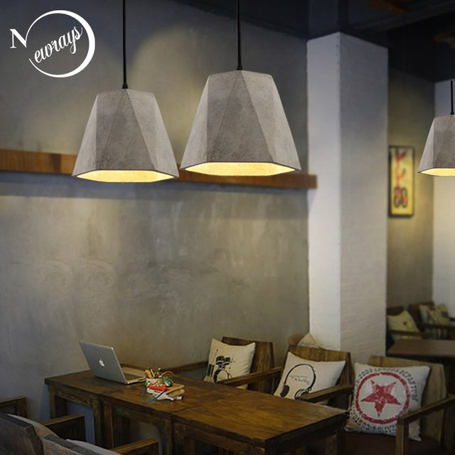 Retro loft concrete pendant light E27 LED industrial deco hanging lamp cement with 5 styles for kitchen bedroom living room cafe