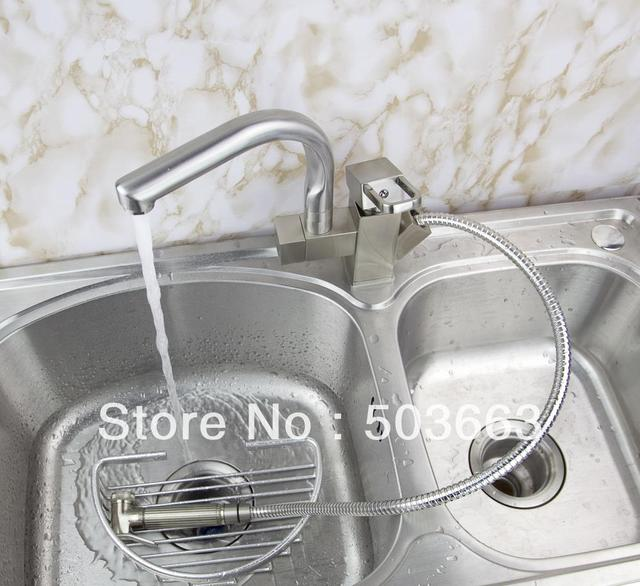 Pull Out And Swivel 2 Outlet Brushed Nickel Kitchen Faucet Sink Mixer Tap Vessel Faucet Crane S-113