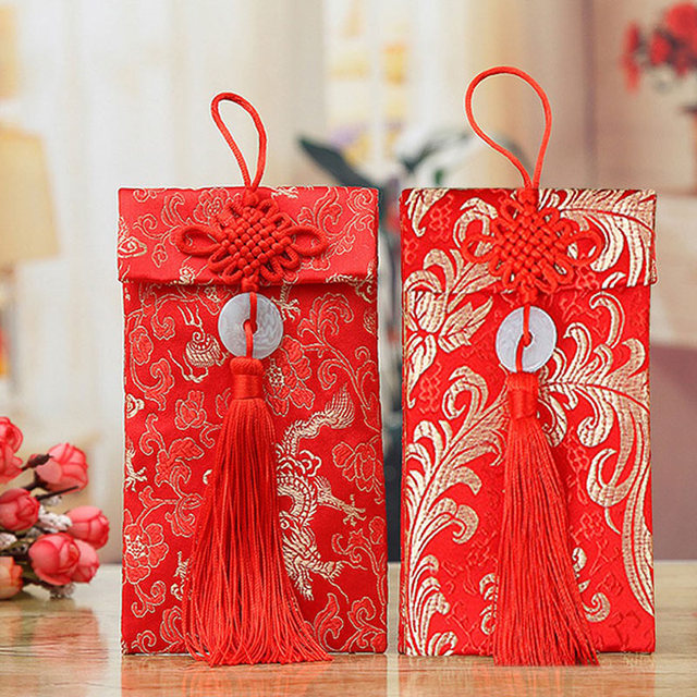 Jade Rings Chinese Red Envelopes Dragon Phoenix Pattern Chinese New Year Wedding Exquisite Best Wishes Spring Festival