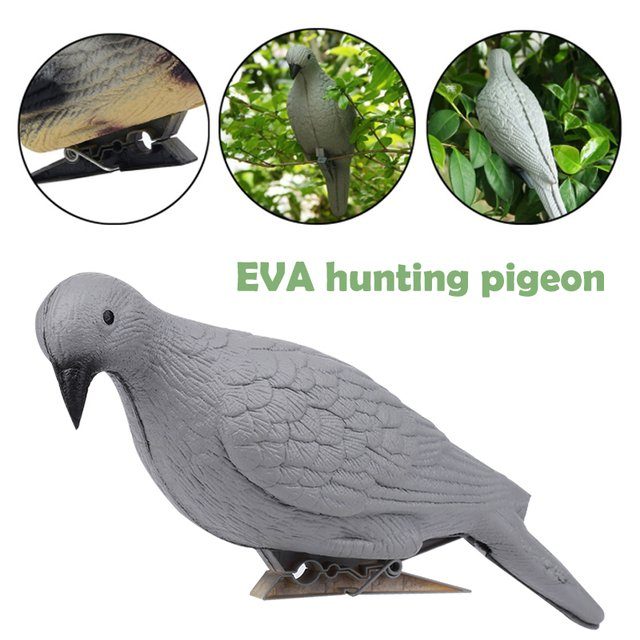 EVA Creative Fake Bird Target Pigeon Outdoors Garden Hunting Decoy Realistic Dove Decoy Pest Decor Grey Trap Tree Yard Hunting