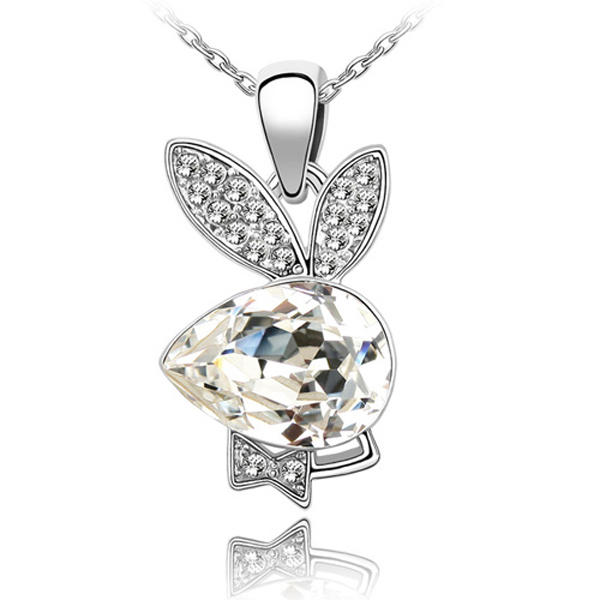 Fashion necklace for women rabbit pendant austria Crystal jewellry white crystal necklaces & pendants