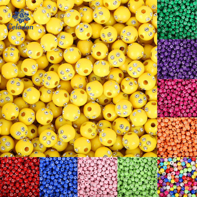 100pcs/lot 8mm Round Shiny Acrylic Beads Loose Spacer Beads for Jewelry Making DIY Bracelet Necklace