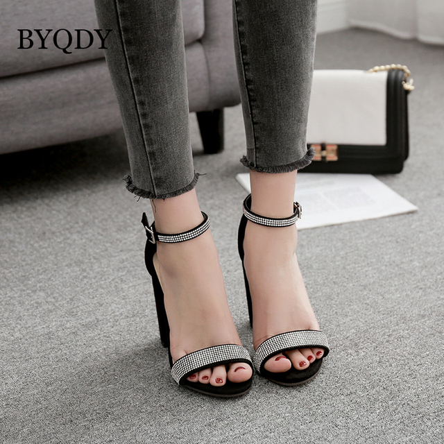 BYQDY 2018 Fashion Thick Heel Wedding Sandals Summer Sexy Women Party Shoes Summer Flock Crystal High Heels Ladies Sandals