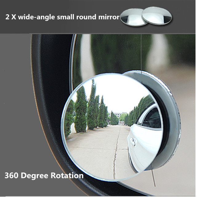 2XHD Adjustable 360 Degree Universal Blind Spot Mirror Car Reverse Frameless Ultrathin Wide Angle Round Convex Rear View Mirror