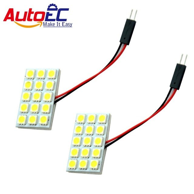 AutoEC 10X Festoon T10 BA9S Dome Panel 15 SMD 5050 LED Car Interior Map Roof Reading Wokring light lamp DC12V #LL10