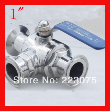 """New arrival 1"""" SS304 Stainless steel T/L port three way clamp Manual quick install  ball valve Tube Fitting Homebrewing & Beer"""
