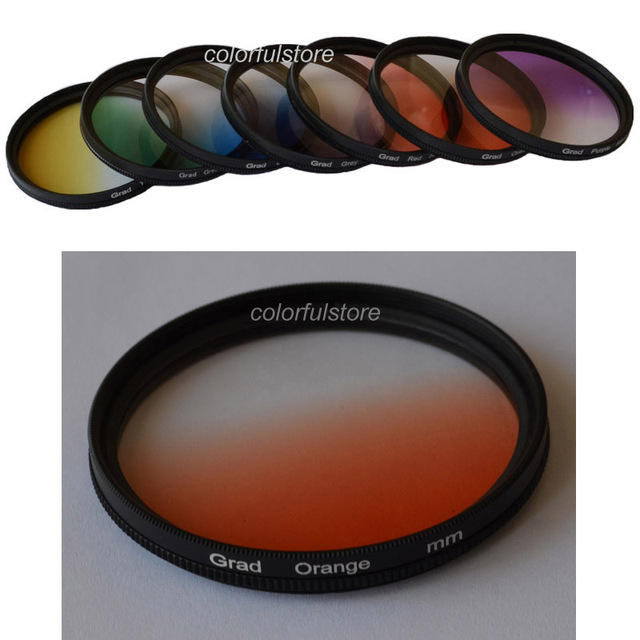 High Quality! 55mm 55 mm 1Pcs Graduated Gradual Grey Green Orange Red Purple Yellow Blue Lenses Colour Filter For Cokin P Series
