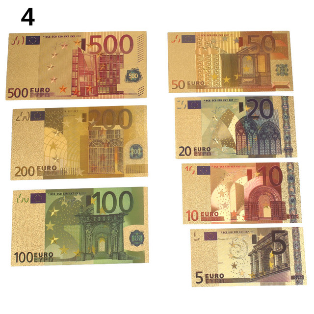 Gold 7PCS Banknotes Commemorative Notes Decoration Realistic 5 10 20 50 100 200 500 EUR 24K Gold Plated EUR Collection
