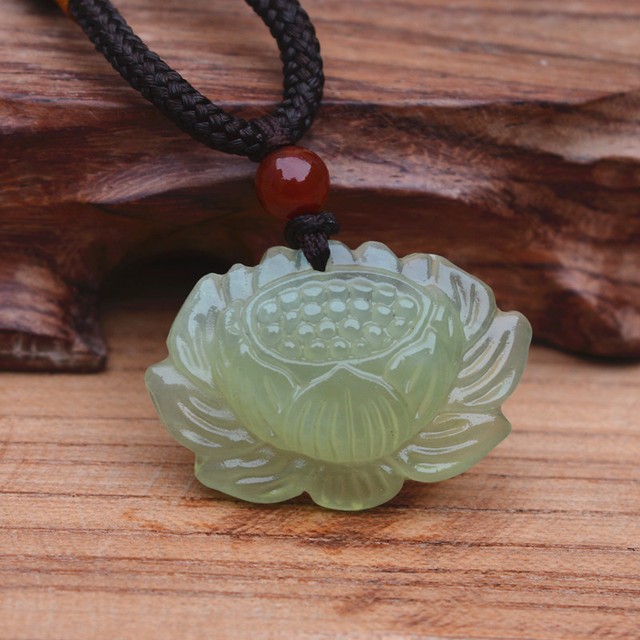 (Certificate)Wholesale Chinese Handmade Natural XIUYAN Stone Carved Lotus Lucky Pendant + Rope Necklace Fashion Jewelry