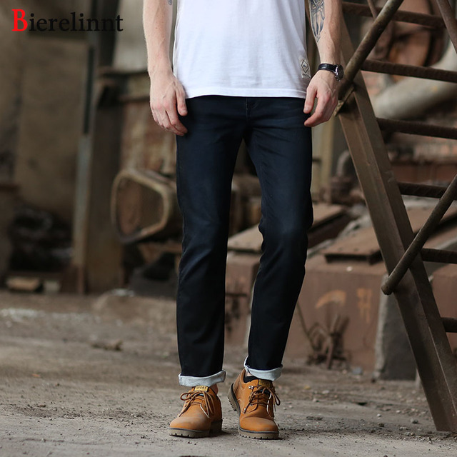 Bierelinnt Black Cotton Denim 2018 New Arrival Men Jeans,Fashion Hot Sale Casual Elastic Straight Slim Fit Jeans Men,570151-2C