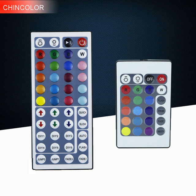 RGB Controller 44 Keys / 24 Keys 2 option mini DC12V Connectors Output IR Remote Dimmer For 5M 3528 5050 2835 Color LED Strip A