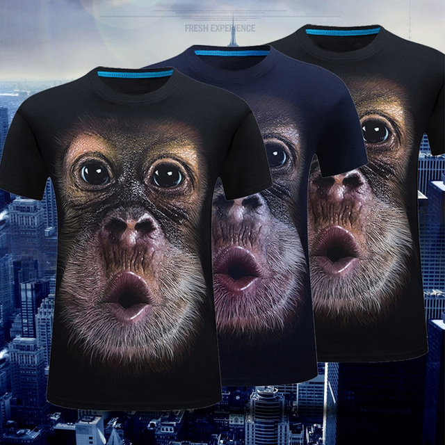 Men'S Tops Casual T-Shirts Cosplay Street 3D T-Shirt Mens Cool Gorilla Party Short Sleeves Sports Summer