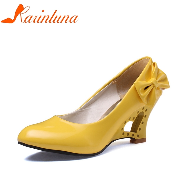 KARINLUNA Plus Size 34-43 Patent Round Toe Butterfly Knot Solid Women Shoes Wedges High Heels Pumps Woman Shoes