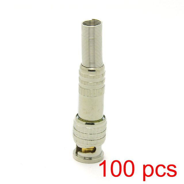 100x Solderless BNC Male Connector Plug to RG59 Coax Cable Coupler CCTV Adapter