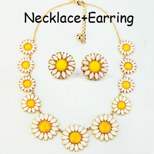1set Necklace+Earring Fashion Summer Party Necklace Jewelry Set gem Statement necklace Choker Collar Crystal Flower Necklaces