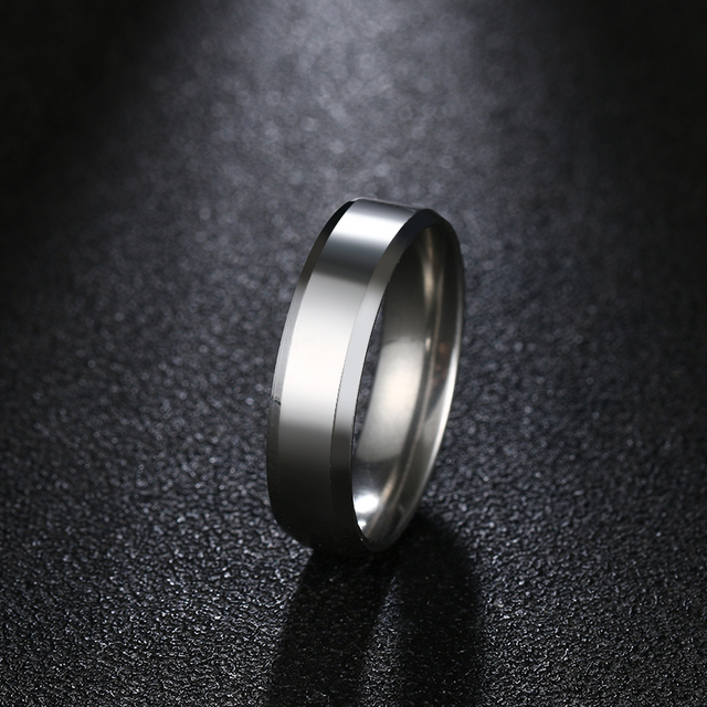 DOTIFI  316L Stainless Steel Rings For Women 6mm Shiny Polished Ring Comfort Engagement Wedding Ring Jewelry