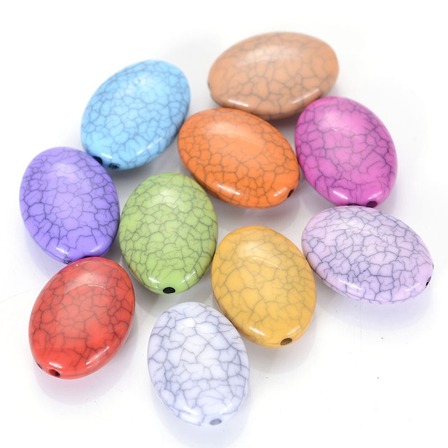 Miasol 8x15x20mm Acrylic Crackled Flat Oval Loose Beads Random Mixed Color Crack Style For Diy Jewelry Making Supplies