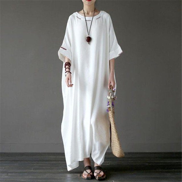 BUYKUD 2018 Women Embroidery Summer Long Dresses Elegant Linen Cotton Robe Round Neck Half Sleeve White Long Loose Casual Dress