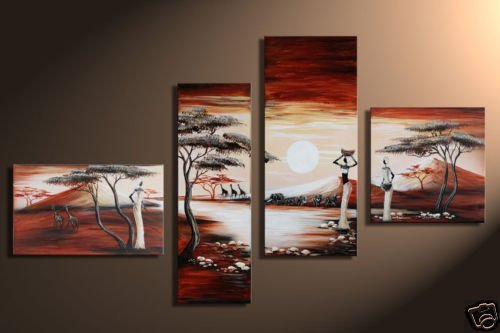 hand-painted  wall Colorful Africa autumn  sunrise home decoration abstract  Landscape oil painting on canvas 4pcs/set,mixorde