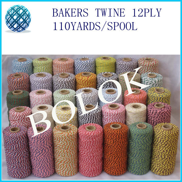 Colored 100% Cotton Baker twine (110yard/spool)35pcs/lot 55 kinds color choose wholesale by free shipping