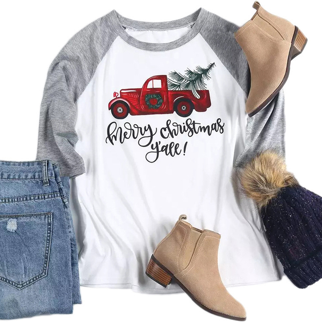 Merry Christmas Letter Print Stitching Summer Women T-shirt Oversized Casual Mujer Camisetas O-Neck Fashion Femme T-shirts