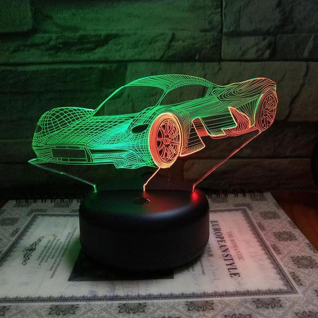 New Fashion Car Running  Table Lamp For Bedroom 7 Color Touch Charging 3d Led Desk Lamp Stereo 3d Visual Night Light
