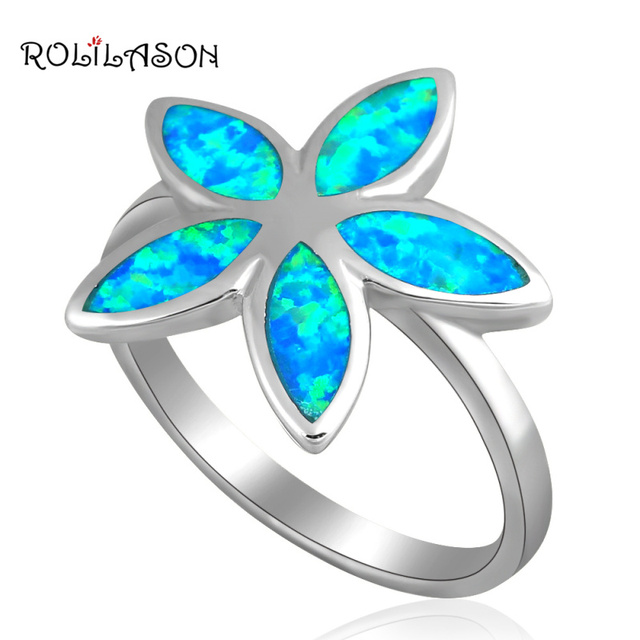 Delicate rings Flower Blue fire Opal silver plated Rings USA sz #6.75 #7.5 #7.75 Best Anniversary gifts OR459