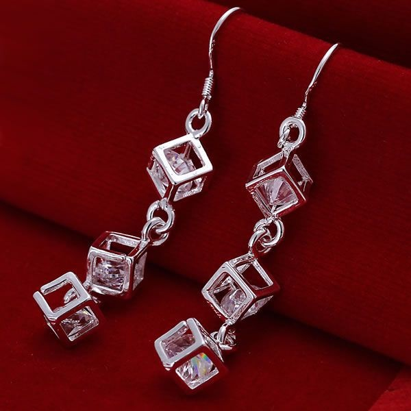 Free Shipping!!Wholesale 925 jewelry silver plated Earring,jewelry silver plated Fashion Jewelry,White Stone Earrings SMTE206
