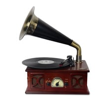 Small horn phonograph LP vinyl electromechanical player old phonograph USB bluetooth speaker radio