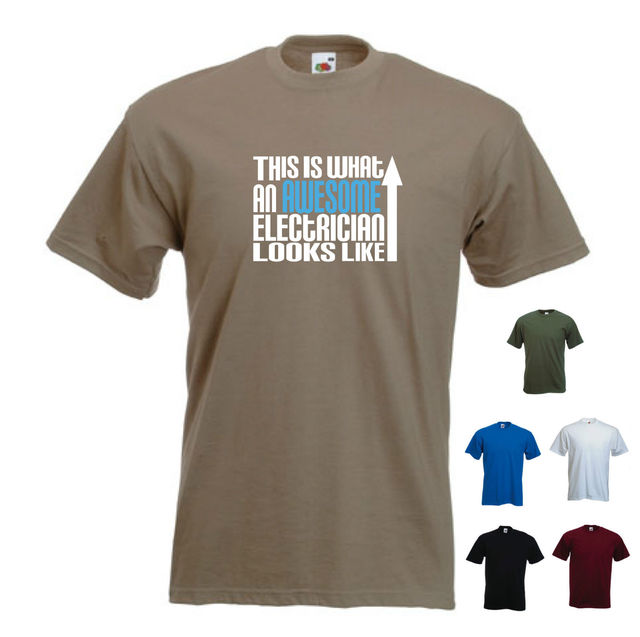 'This is what an Awesome Electrician looks like' Sparky Birthday Funny T-shirt New T Shirts Funny Tops Tee New