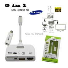 5in1 Micro USB MHL to HDMI HDTV Adapter Connector Connection Kit+TF/SD Card Reader+OTG Data Cable for Samsung S3/S4 Note 2