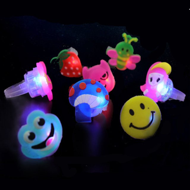 50PCS Cute Kids Boys Girls Fruit Style LED Light Up Flashing Glowing Luminous Finger Rings Toy for Halloween Party Favors Supply
