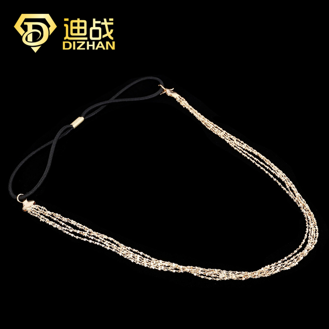 Hot Sales Bohemian Hair Accessories Gold Color Alloy Tassel Head Chains Charm Headbands for women multilayer headchain Jewelry