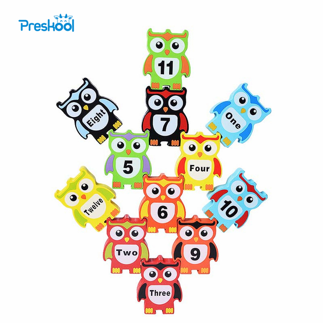 Preskool Baby Toy For Children Animal Fun Balance Stacked Block Digital And Color Recognition Wood Education Toy