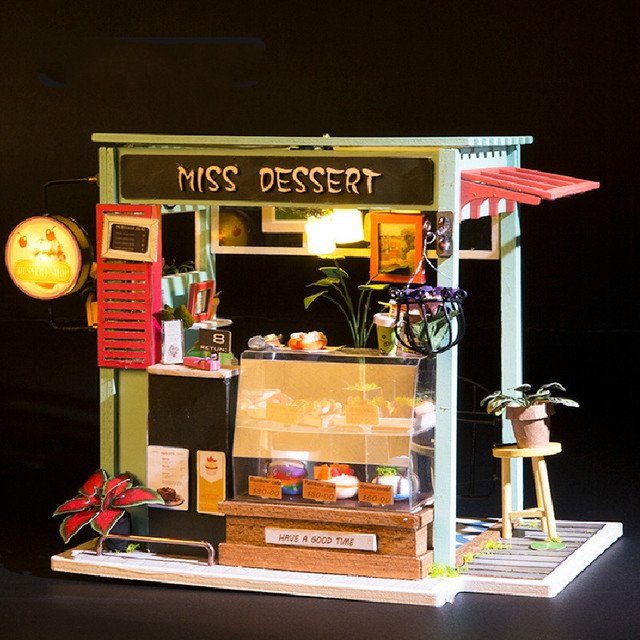 NEW DIY creative Valentine GIFT Assembled wooden Doll House With Furniture with light 3D Puzzle Miss Dessert DIY HOUSE