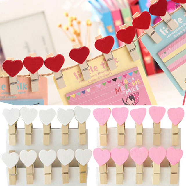 20Pcs/Pack Mini Heart Wooden Clothespin Photo Paper Clips Peg Pin Craft Postcard Clips Home Wedding Decoration