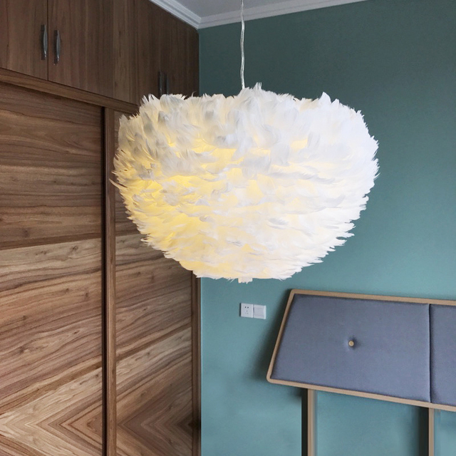 Fashion Feather Chandelier with 3Color Bulb 30CM Multicolor E27 Hang Cloud Light Bedroom Living Room Hanging Lamp Parlor Decor