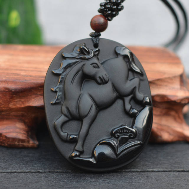 Drop Shipping Natural Black Obsidian Stone Carving Chinese Zodiac Horse Lucky Amulet Pendant Necklace For  men's fashion Jewelry