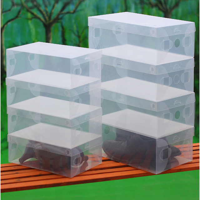 10pcs/lot Clear Foldable Plastic Shoe Storage Boxes Stackable Organizer