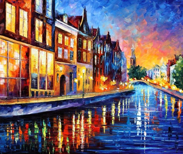 beautiful Painting Home Decor amsterdam sunday night Colorful oil paintings Canvas Modern Fine Art High quality Hand painted