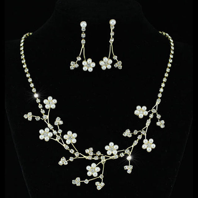 Bridal Wedding Party Flower Simulated Pearl Crystal Gold Color Metal Necklace Earrings Set CS1125