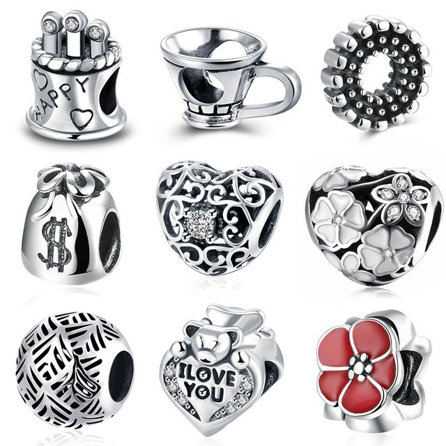 925 Sterling Silver Charms beads for jewelry making Leaf DIY Beads Spacer Big Hole Charm Bead Fit For Pandora Charms Bracelet